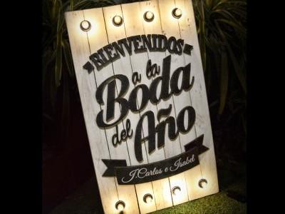 Cartel Boda Luces Bienvenidos