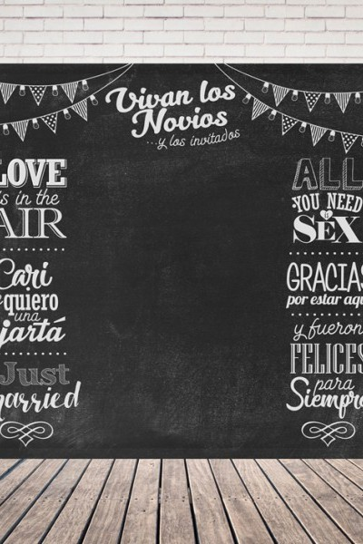 Photocall alquiler para bodas efecto pizarra